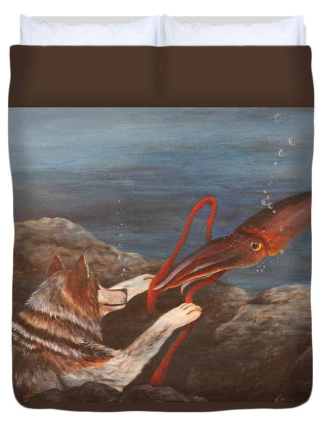 Wolf Duvet Cover featuring the painting Wolf And Squid by Michelle Miron-Rebbe