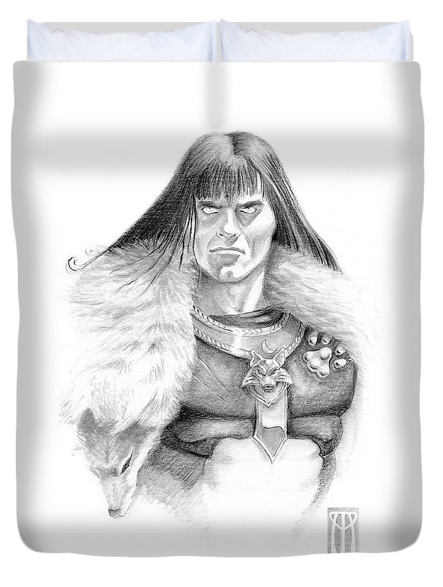 Barbarian Duvet Cover featuring the painting Wolf Barbarian by Melissa A Benson