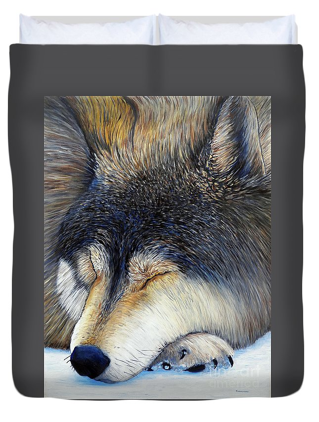 Wolf Duvet Cover featuring the painting Wolf Dreams by Brian Commerford
