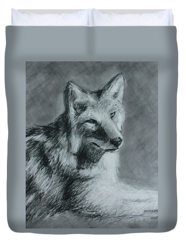 Wolf Duvet Cover featuring the drawing Wolf by JP Morris