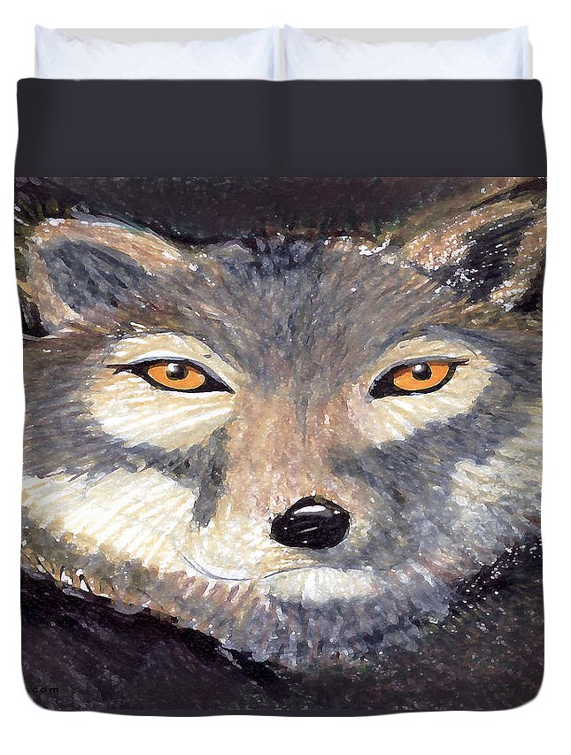Wolf Duvet Cover featuring the painting Wolf by Kevin Middleton