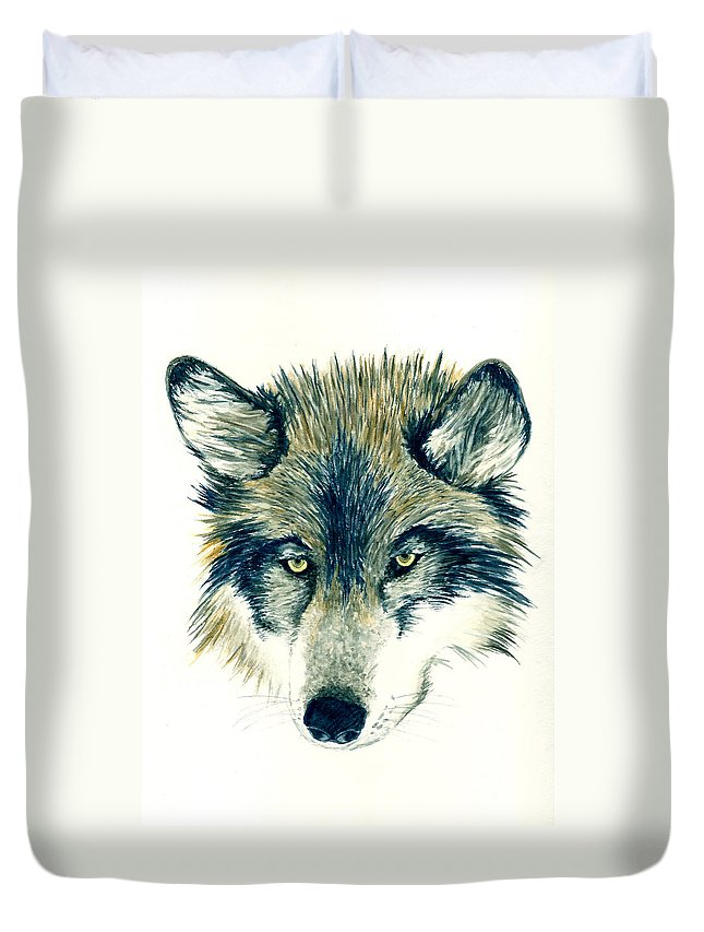 Animals Duvet Cover featuring the painting Wolf by Michael Vigliotti