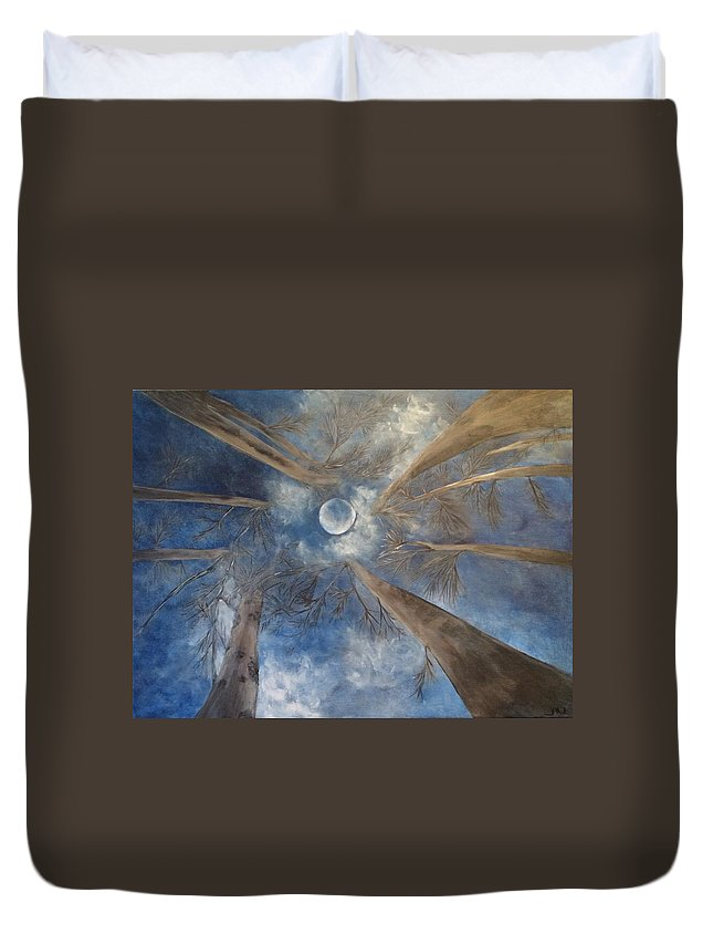 Moon Duvet Cover featuring the painting Wolf Moon by Michelle Ferrell