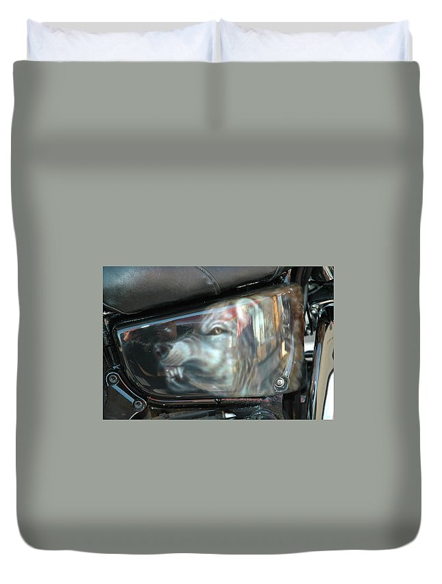 Duvet Cover featuring the painting Wolf Motorcycle Side Panel by Wayne Pruse