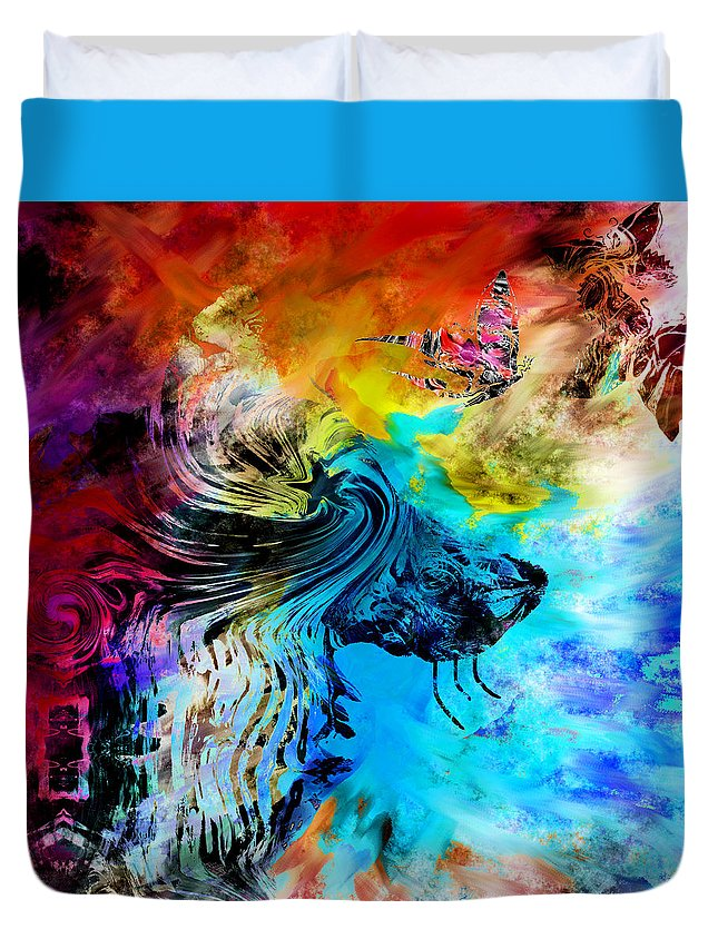 Wolf Duvet Cover featuring the digital art Wolf Playing With Butterflies by Abstract Angel Artist Stephen K