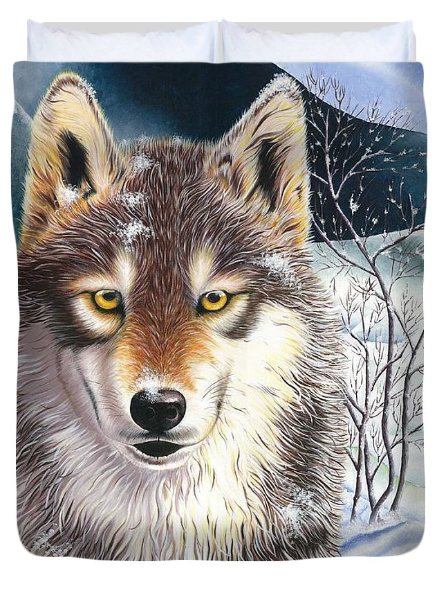 Handmade Item Duvet Cover featuring the painting Wolf by Suntaree Nujai