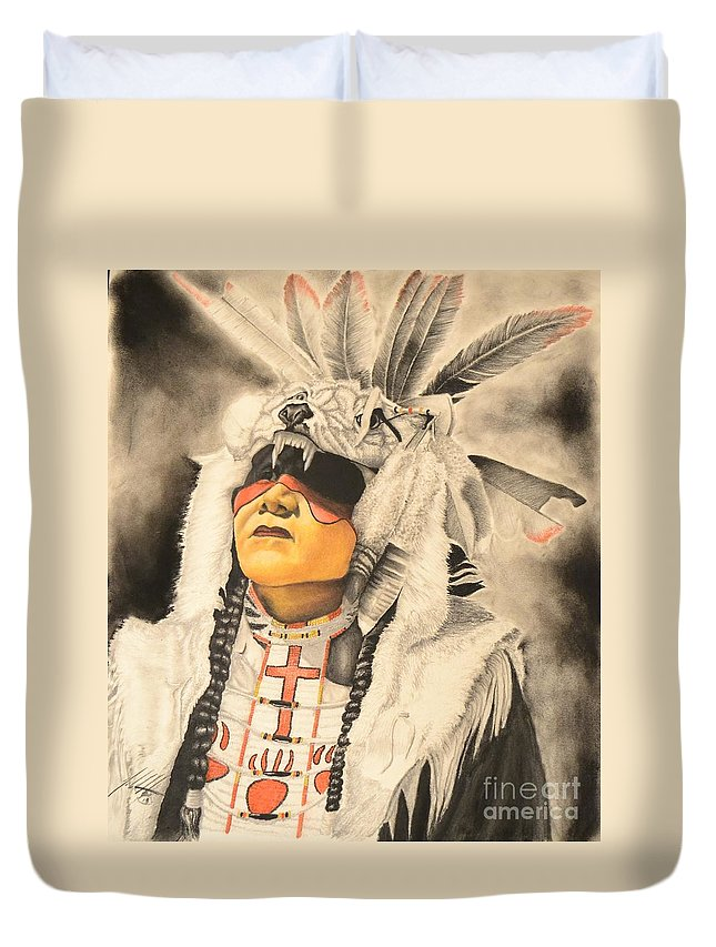 Indian Duvet Cover featuring the mixed media Wolfs Hat by John Huntsman