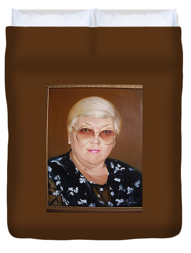 Art Duvet Cover featuring the painting Woman 1 by Sergey Ignatenko