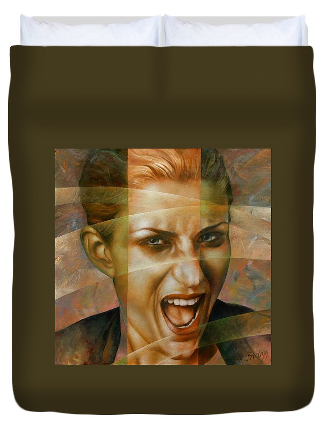 Portraits Artwork Duvet Cover featuring the painting Woman by Arthur Braginsky