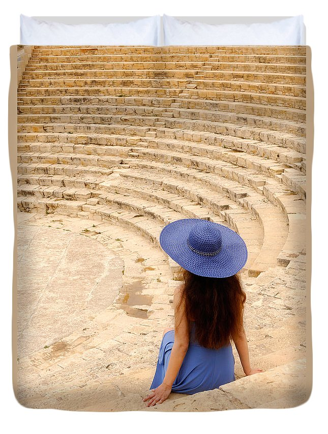 Cyprus Duvet Cover featuring the photograph Woman At Greco-roman Theatre At Kourion Archaeological Site In C by Oleksiy Maksymenko