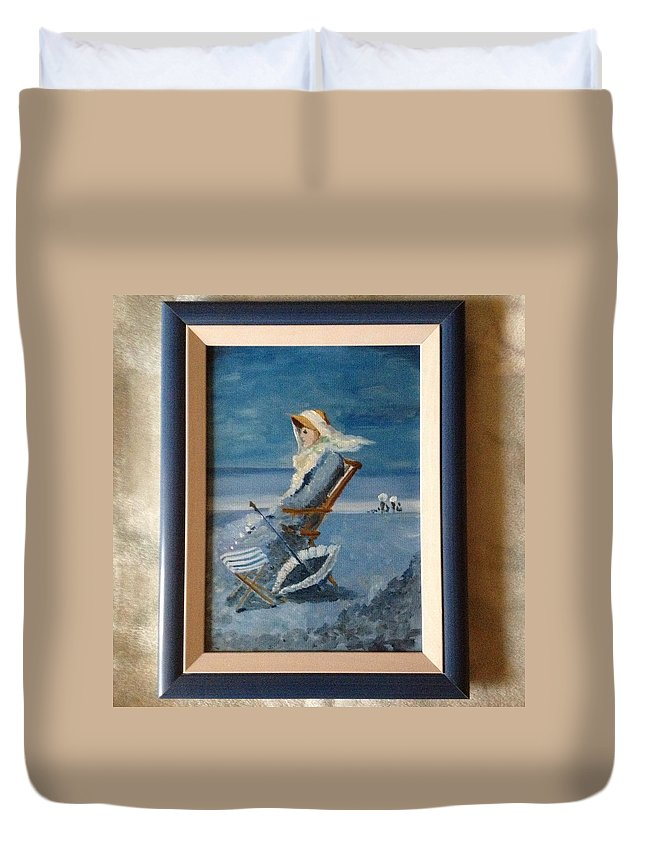 Woman At The Beach Grigorescu Blue Chair Umbrella Xixth Century Duvet Cover featuring the painting Woman At The Beach by Costin Tudor