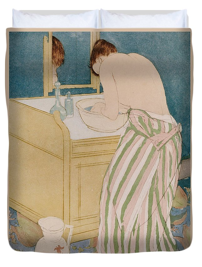 Woman Bathing Duvet Cover featuring the painting Woman Bathing by Mary Stevenson Cassatt