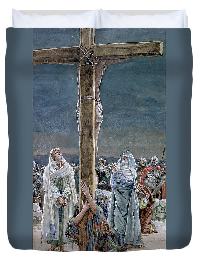 Stabat Duvet Cover featuring the painting Woman Behold Thy Son by Tissot