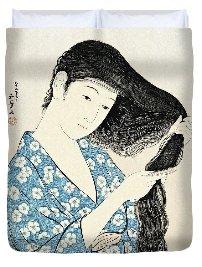 Art Duvet Cover featuring the painting Woman Combing Her Hair Kami Sukeru Onna by Hashiguchi Goyo