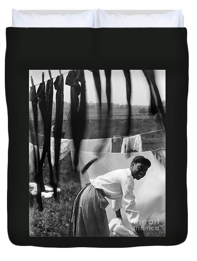 1902 Duvet Cover featuring the photograph Woman Doing Laundry, C1902 by Granger