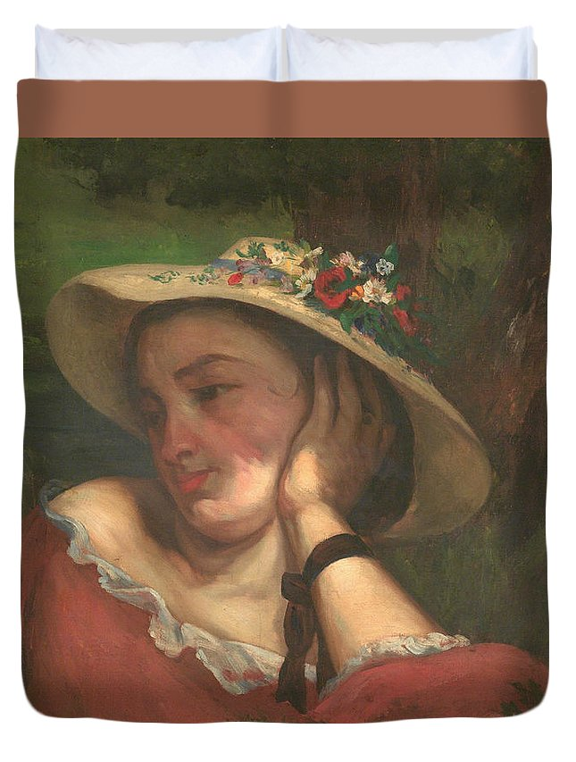 Girl Duvet Cover featuring the painting Woman by Gustave Courbet