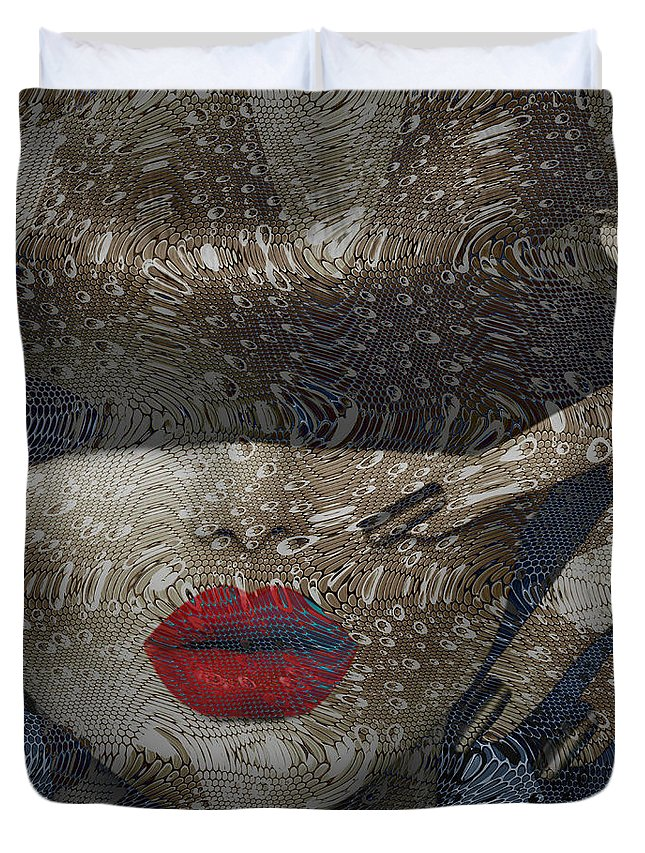 Woman Duvet Cover featuring the digital art Woman In Blue Red Passion by Rosa Maria Intorre
