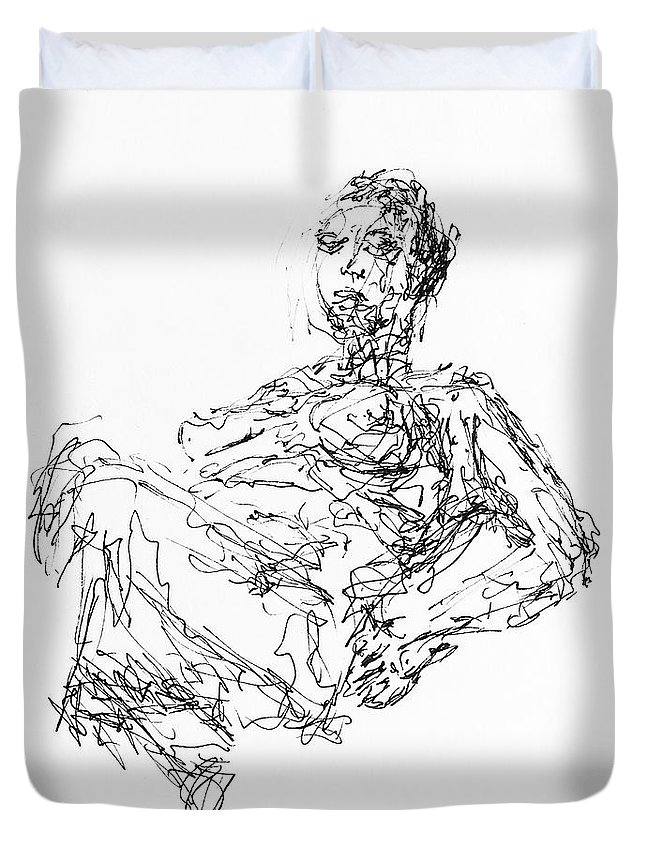 Abstract Duvet Cover featuring the drawing Woman In Repose 4483 by Robert Yaeger