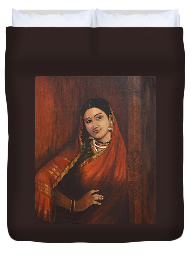 Woman Duvet Cover featuring the painting Woman In Saree - After Raja Ravi Varma by Usha Shantharam