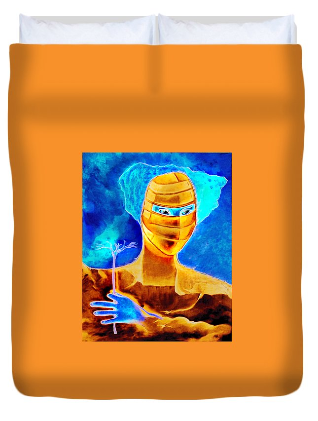 Blue Woman Mask Mistery Eyes Duvet Cover featuring the painting Woman In The Blue Mask by Veronica Jackson