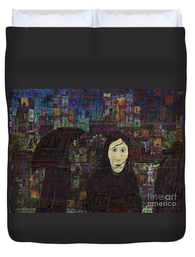 Rain Woman Duvet Cover featuring the digital art Woman In The Rain by Andy Mercer