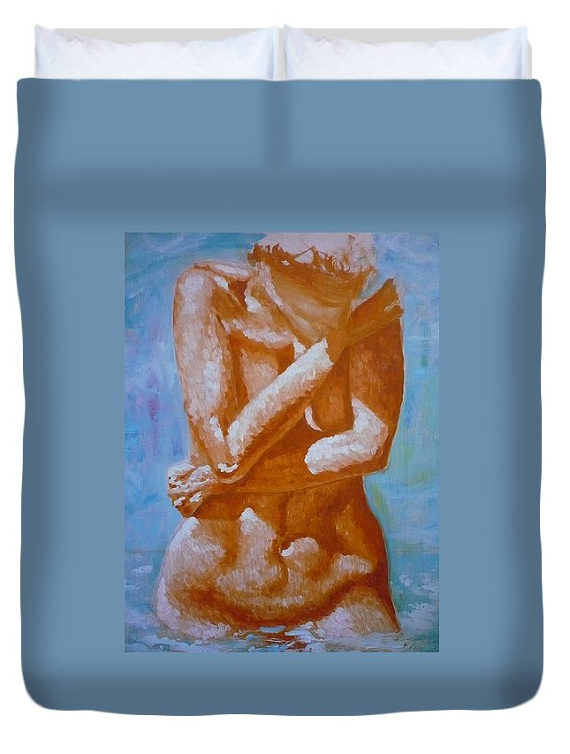 Woman Duvet Cover featuring the painting Woman In Water by Ericka Herazo