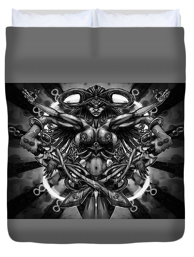 Woman Duvet Cover featuring the painting Woman Infinity by Kenneth Outwater