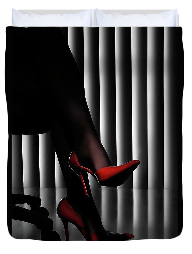 Shoes Duvet Cover featuring the photograph Woman Legs In Red Shoes by Oleksiy Maksymenko