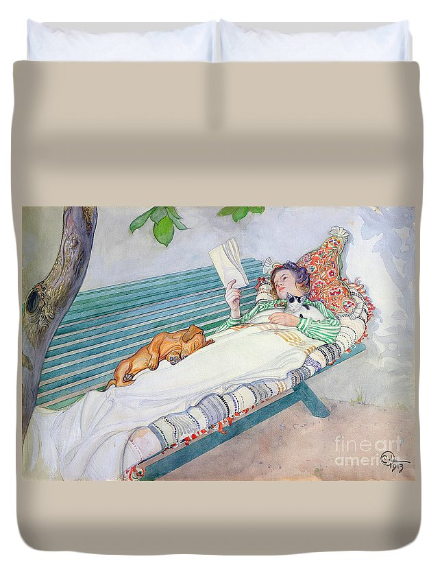 Woman Duvet Cover featuring the painting Woman Lying on a Bench by Carl Larsson