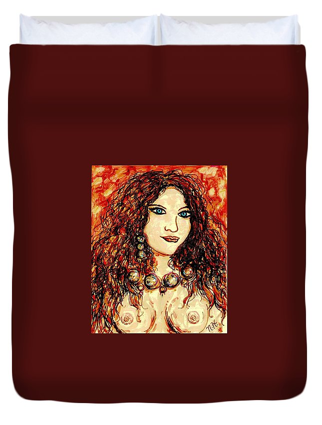 Woman Duvet Cover featuring the painting Woman Of Desire by Natalie Holland