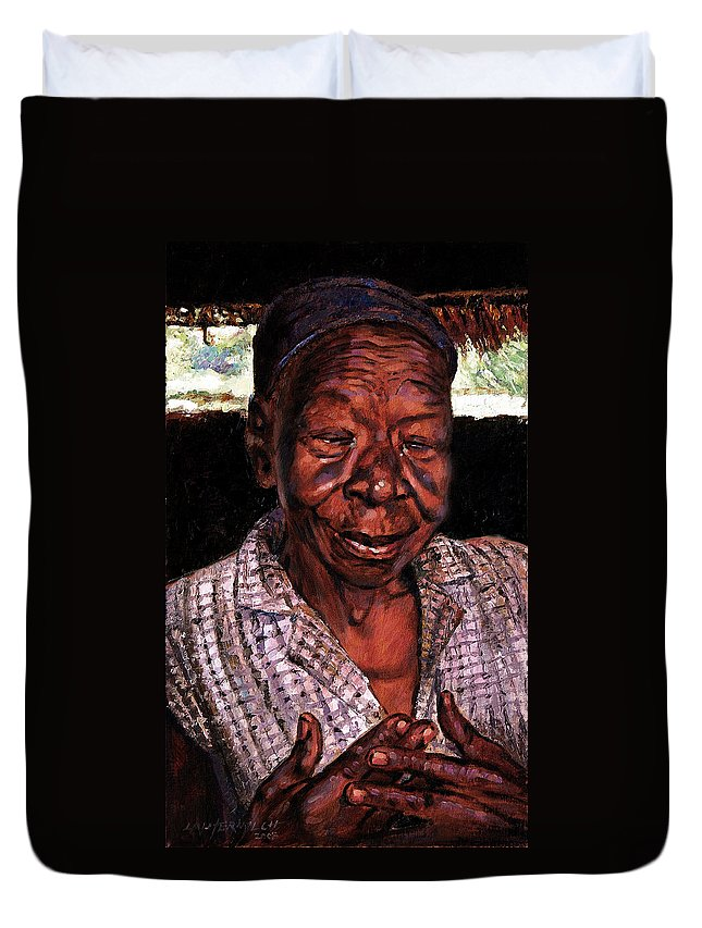 Black Woman Duvet Cover featuring the painting Woman Of Faith by John Lautermilch