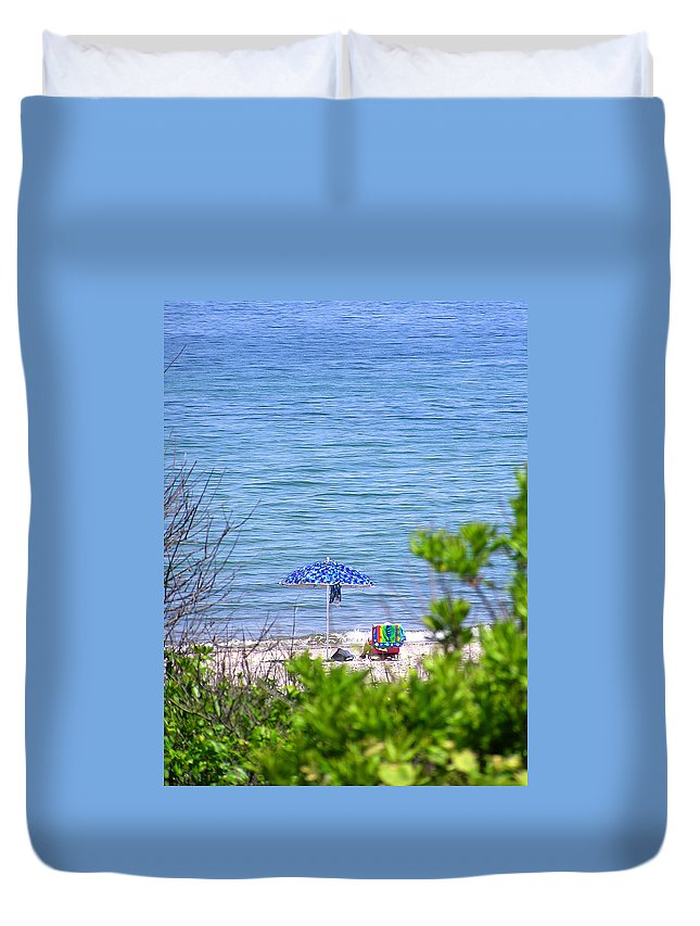Beachgoer Duvet Cover featuring the photograph Woman On The Beach by Charles Harden