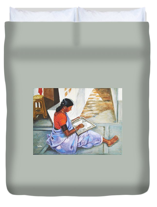 Usha Duvet Cover featuring the painting Woman Picking Rice by Usha Shantharam