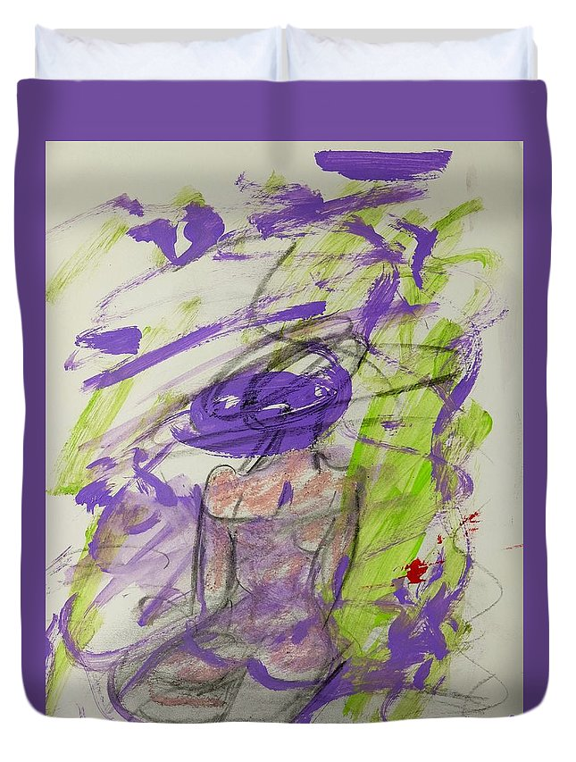 Purple Duvet Cover featuring the painting Woman Reflecting by Barbara Rose Brooker
