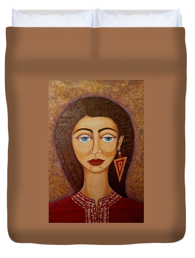 Market Duvet Cover featuring the painting Woman S Market by Madalena Lobao-Tello