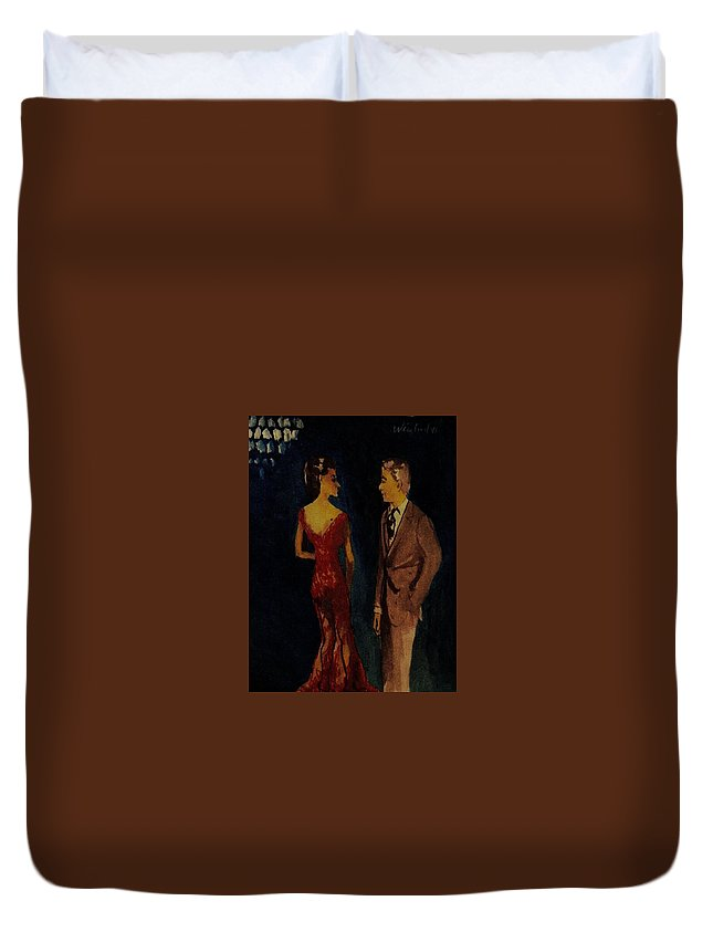 Woman In Sensual Duvet Cover featuring the painting Woman See Thru Red Dress And Man by Harry WEISBURD