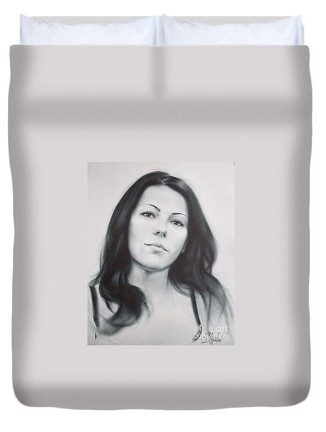 Art Duvet Cover featuring the drawing Woman by Sergey Ignatenko