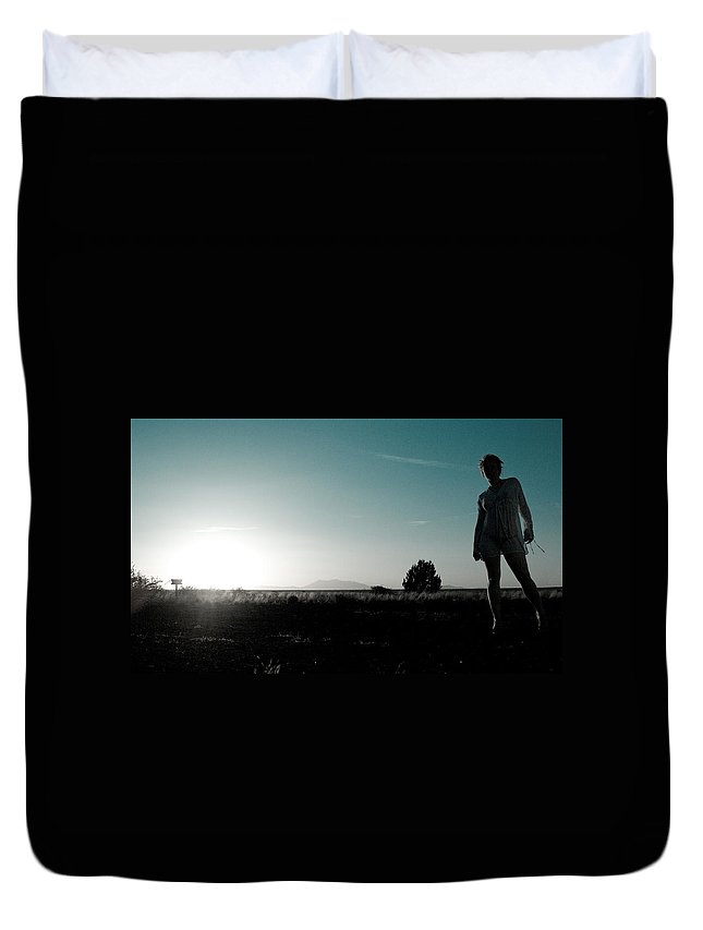 Woman Duvet Cover featuring the photograph Woman Standng by Scott Sawyer