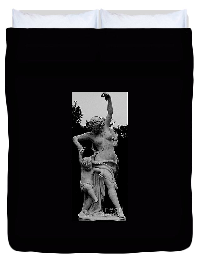 Figurative Duvet Cover featuring the painting Woman Statue by Eric Schiabor