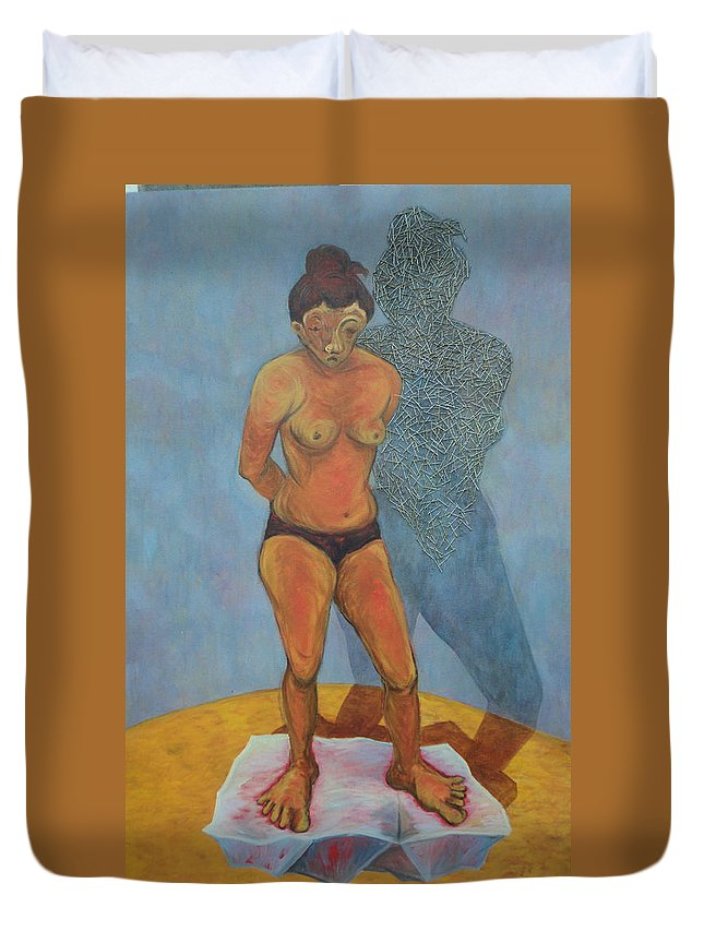 Figure Duvet Cover featuring the painting Woman V by Ashini Shashipraba