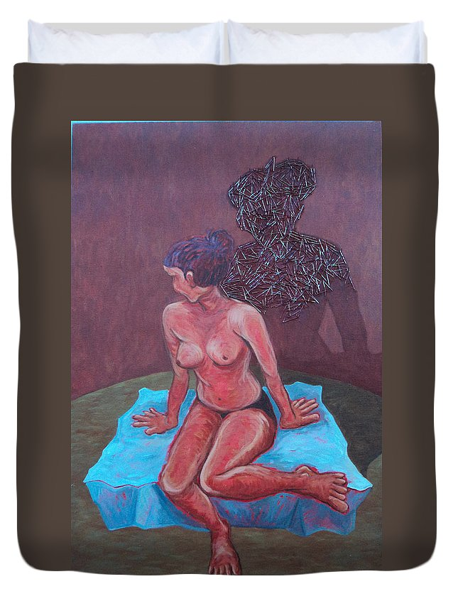Figure Duvet Cover featuring the painting Woman Vi by Ashini Shashipraba