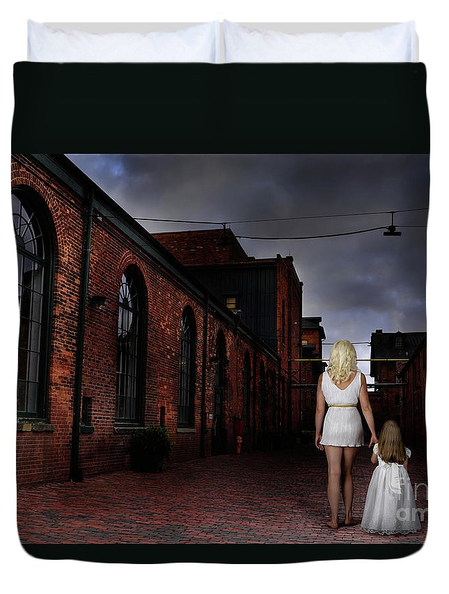 Woman Duvet Cover featuring the photograph Woman Walking Away With A Child by Oleksiy Maksymenko
