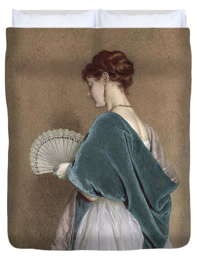 Woman Duvet Cover featuring the photograph Woman With A Fan by John Dawson Watson