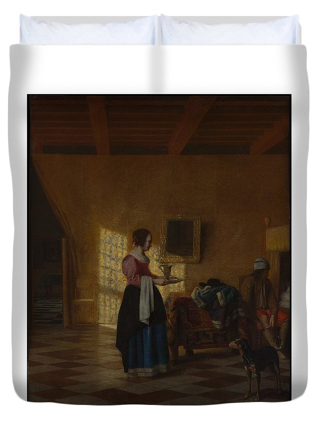 Pieter De Hooch Woman With A Water Pitcher And A Man By A Bed The Maidservant Duvet Cover featuring the painting Woman With A Water Pitcher And A Man By A Bed The Maidservant by Pieter de Hooch