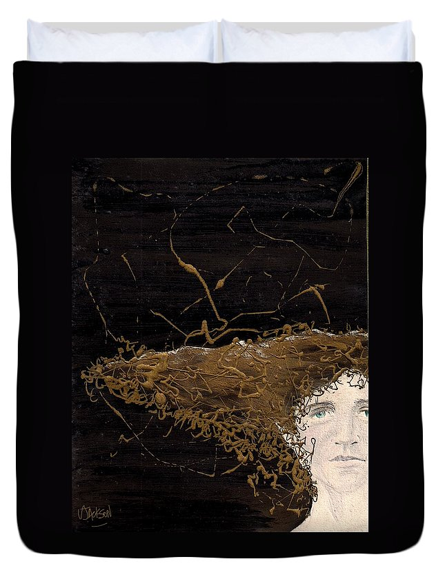 Hair Gold Woman Face Eyes Softness Duvet Cover featuring the mixed media Woman With Beautiful Hair by Veronica Jackson