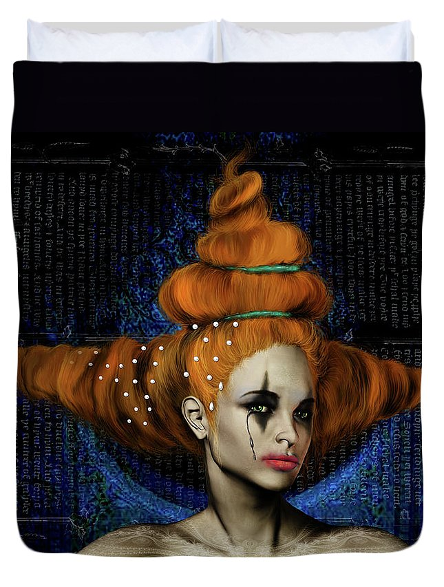 Woman Hair Gothic Dark Faces Eyes Duvet Cover featuring the digital art Woman With Big Hair by Veronica Jackson