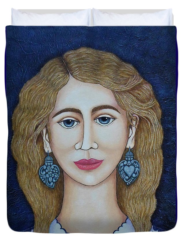 Woman Duvet Cover featuring the painting Woman With Silver Earrings by Madalena Lobao-Tello
