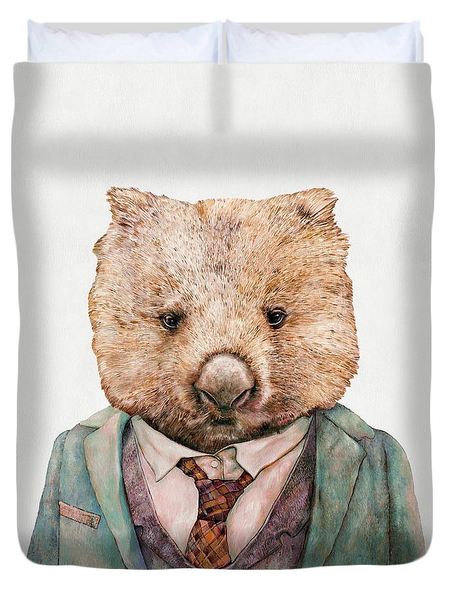 Wombat Duvet Cover featuring the painting Wombat by Animal Crew