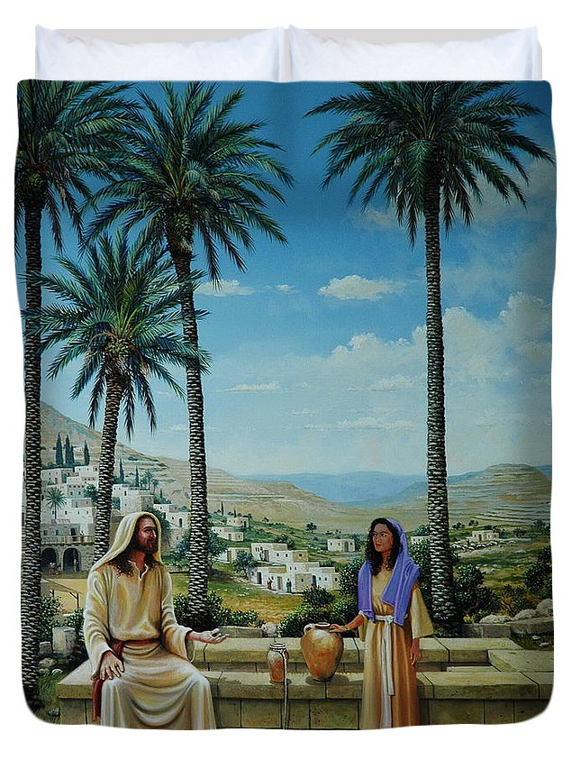 Jesus Duvet Cover featuring the painting Women At The Well by Michael Nowak