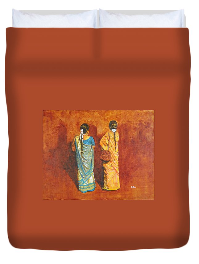 Women Duvet Cover featuring the painting Women In Sarees by Usha Shantharam